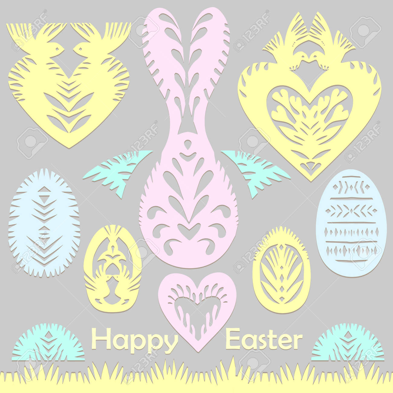 Set of paper cut festive symbols Holiday spring Easter signs egg, rabbit, heart, tree in pink, yellow, gray, blue colors. Traditional Belarusian, Polish paper clippings. Hand made. Vector - 164139370
