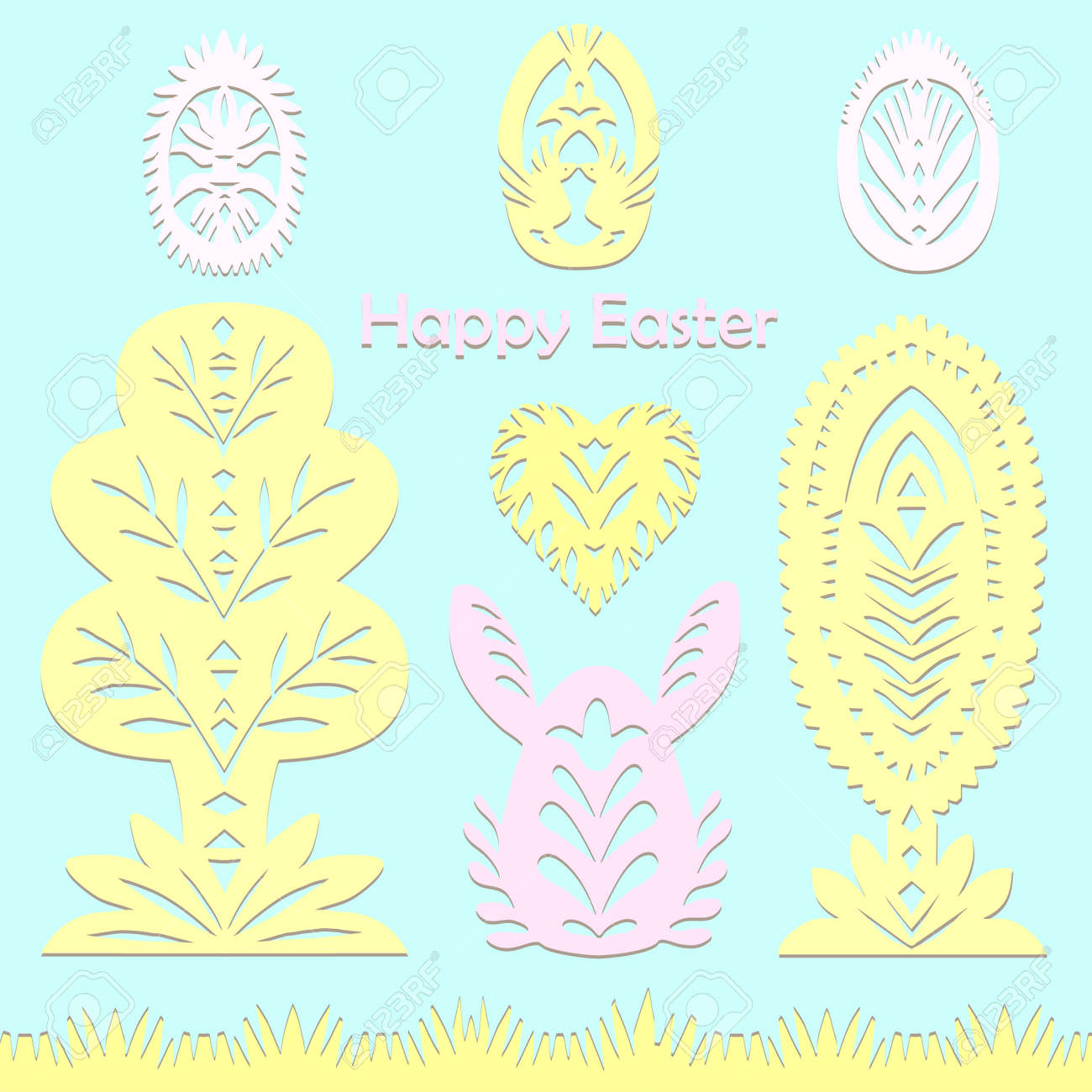 Set of paper cut festive symbols Holiday spring Easter signs egg, rabbit, heart, tree in pink, yellow, gray, blue colors. Traditional Belarusian, Polish paper clippings. Hand made. Vector - 164139323