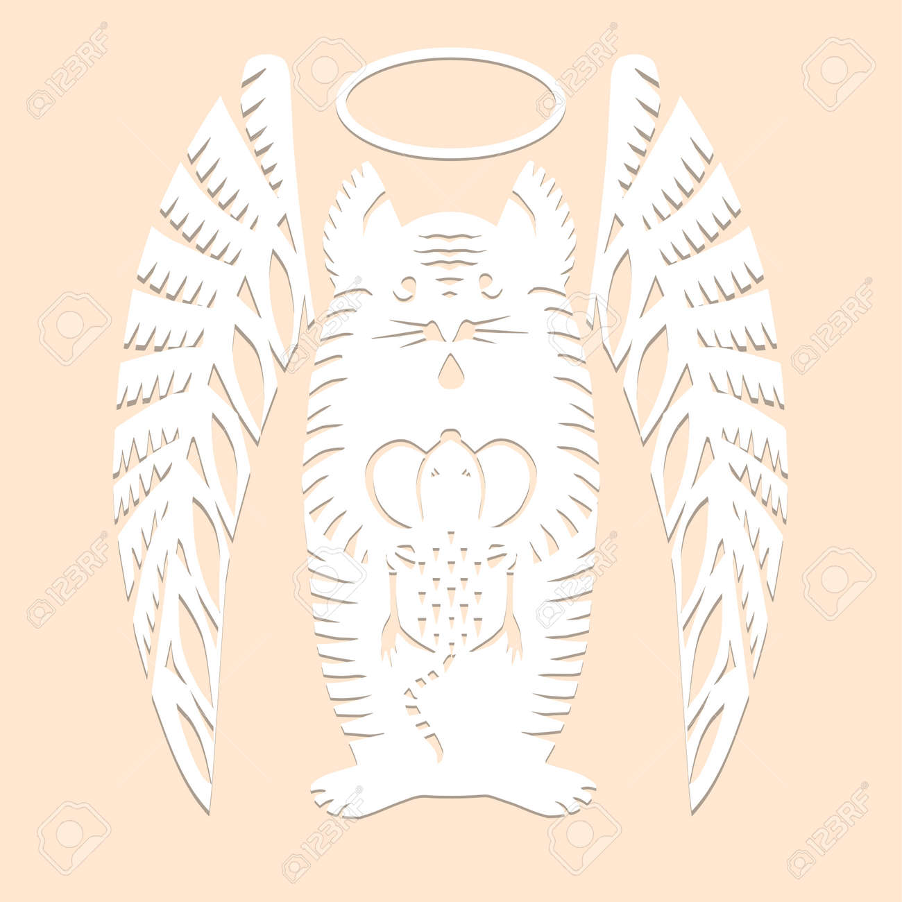 Cat angel with mouse Paper cut decorative silhouette animal in white color isolated on beige background Traditional Belarusian, Polish paper clippings make with scissors. Hand made. Vector - 164341526