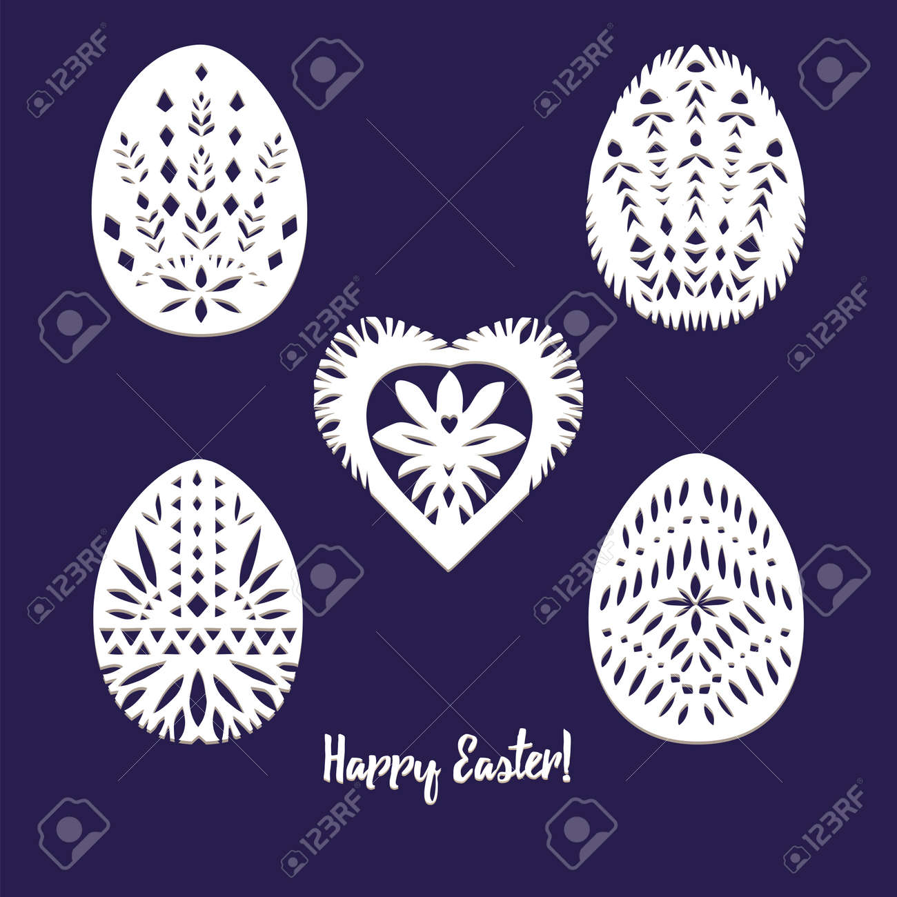 Set of paper cut festive symbols Holiday spring Easter signs egg in white colors isolated on blue background and lace frame. Traditional Belarusian, Polish paper clippings. Hand made. Vector - 165133138