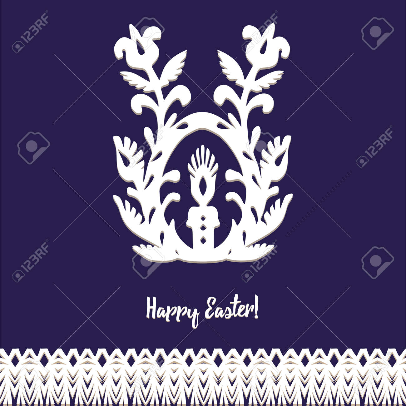 Egg whith candle Paper cut festive symbols Holiday spring Easter signs in white colors isolated on blue background and lace frame. Traditional Belarusian, Polish paper clippings. Hand made. Vector - 164995723