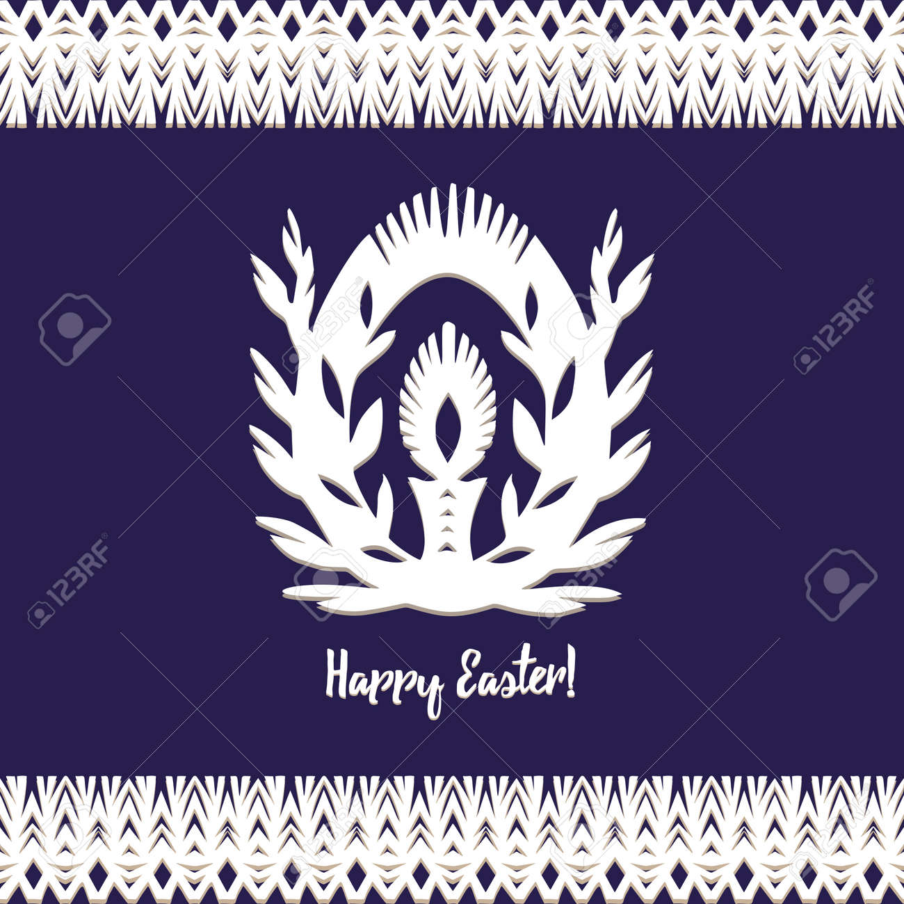 Egg whith candle Paper cut festive symbols Holiday spring Easter signs in white colors isolated on blue background and lace frame. Traditional Belarusian, Polish paper clippings. Hand made. Vector - 164995940