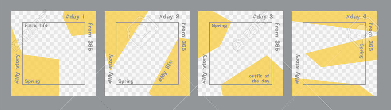 Set of minimal square posts. Trasparent yellow geometric shapes and gray text template. Place for your photo. Every day design concept for year Best for social media post and web internet ads - 165878946