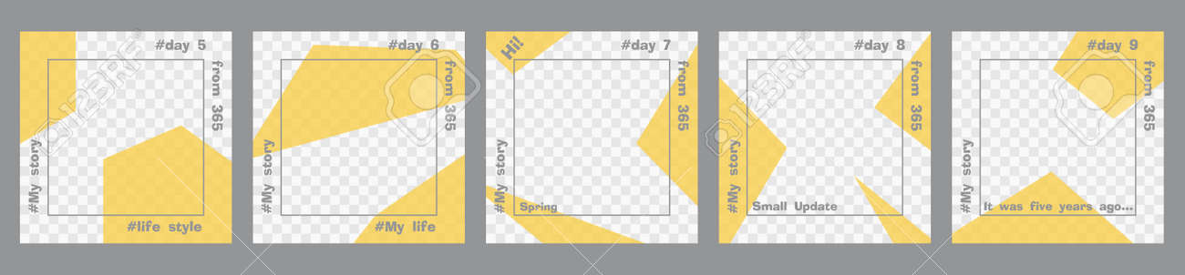 Set of minimal square posts. Trasparent yellow geometric shapes and gray text template. Place for your photo. Every day design concept for year Best for social media post and web internet ads - 165878947