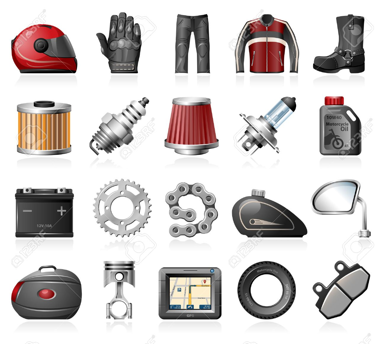 Motorcycle parts and accessories icons - 34361585