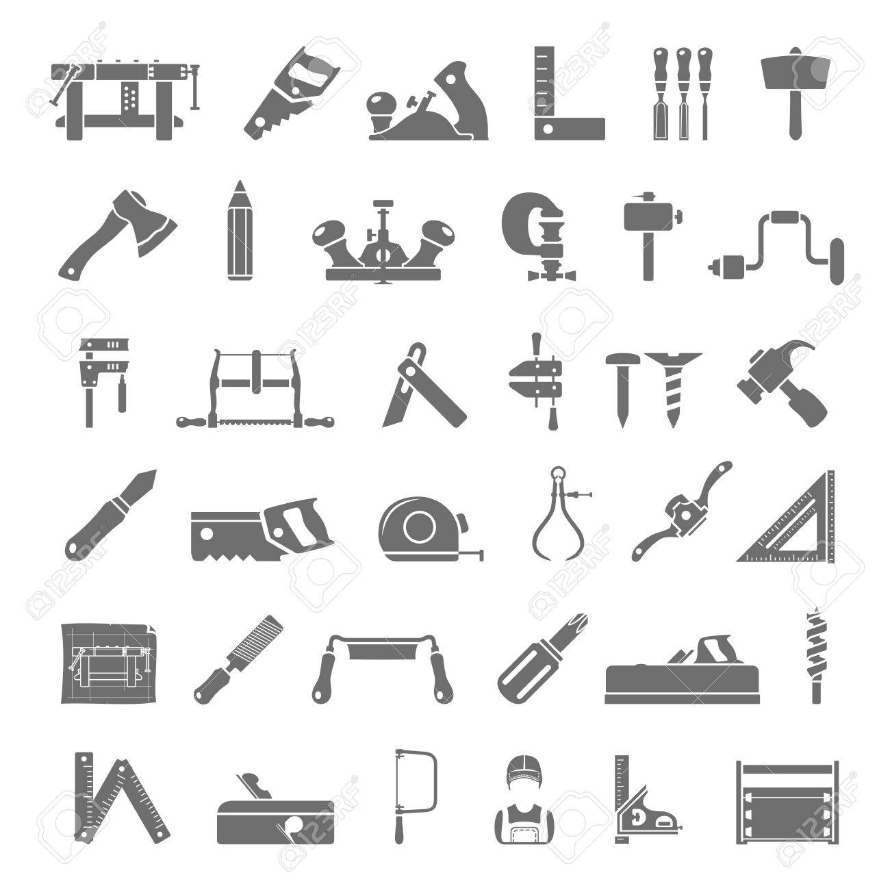 Black Icons Traditional Woodworking Tools Royalty Free Cliparts