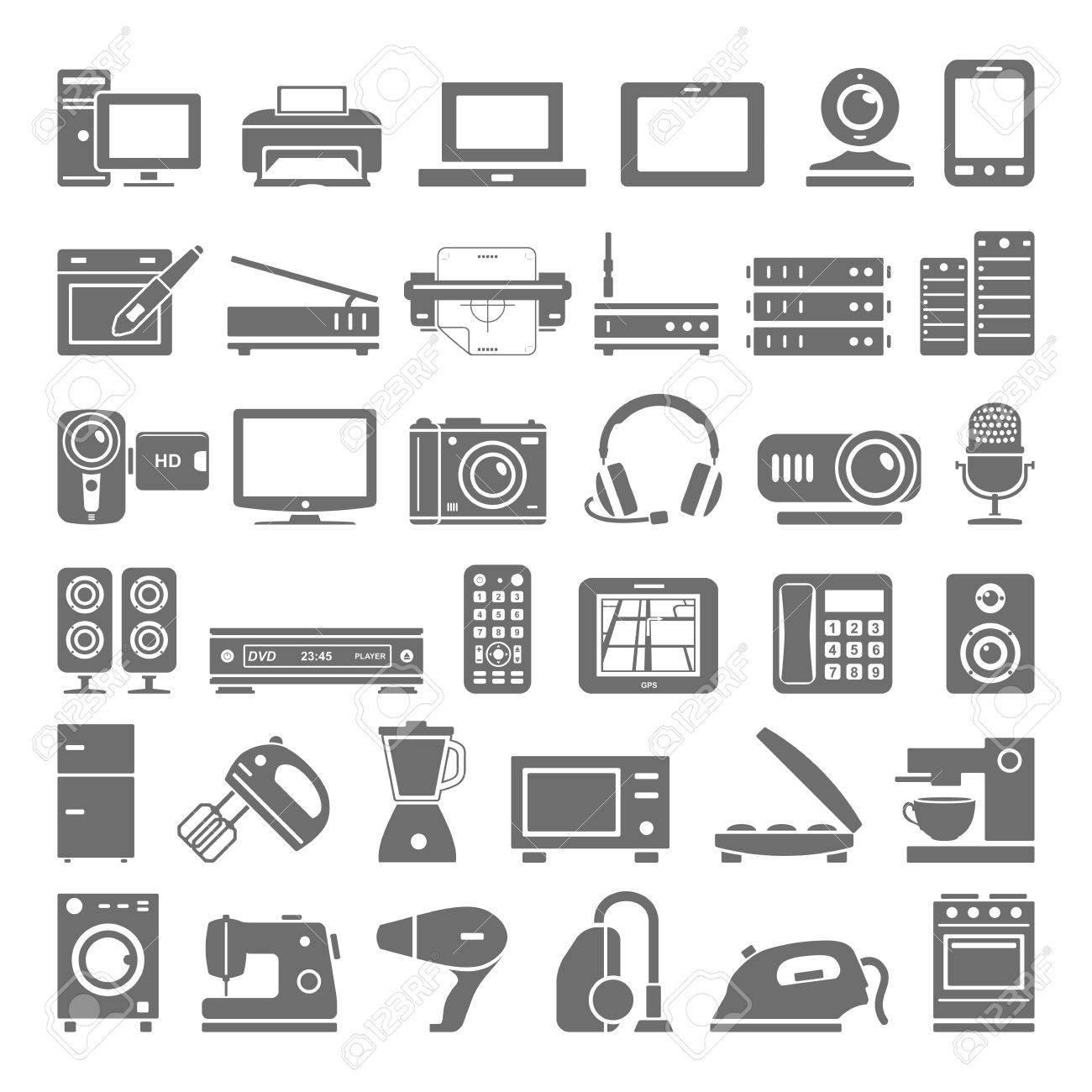 Elektronische Geräte Und Haushaltsgerät Symbole Lizenzfrei Nutzbare ...
