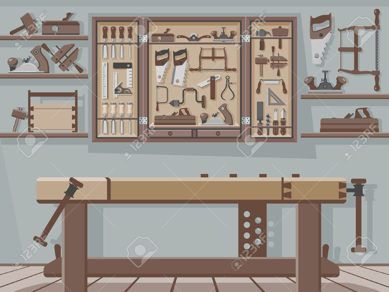 Traditional Woodworking Workshop Royalty Free Cliparts Vectors And