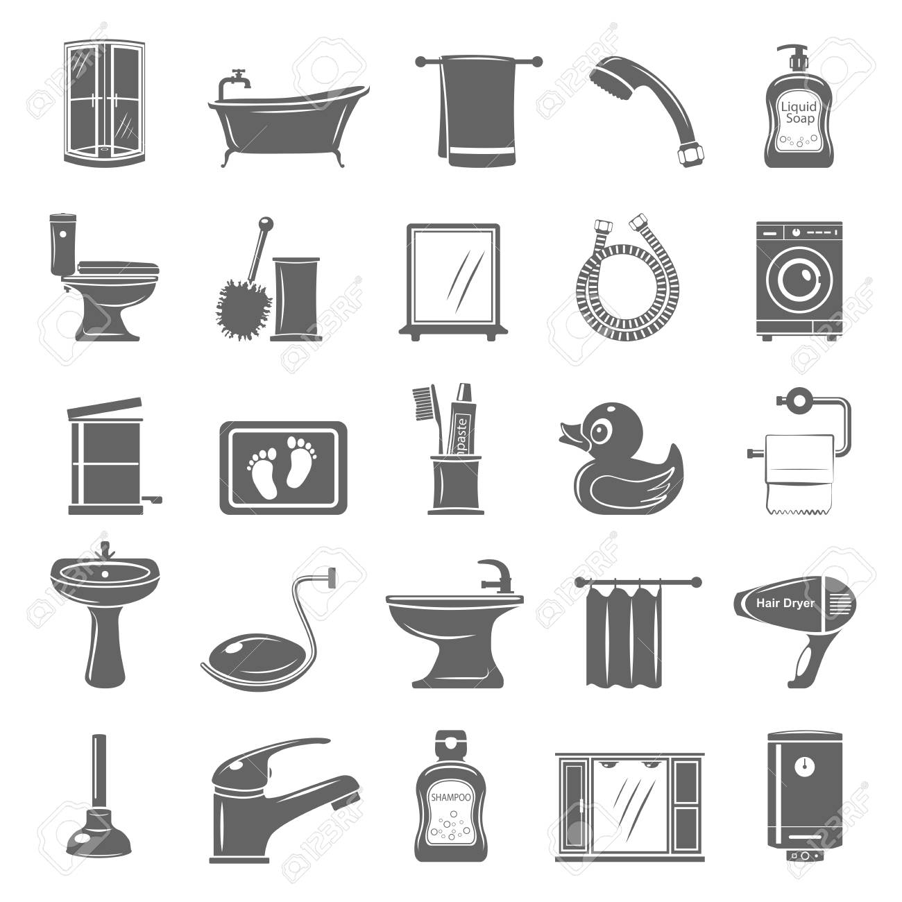 Bathroom Equipment And Accessories Vector Illustration Set Royalty ...