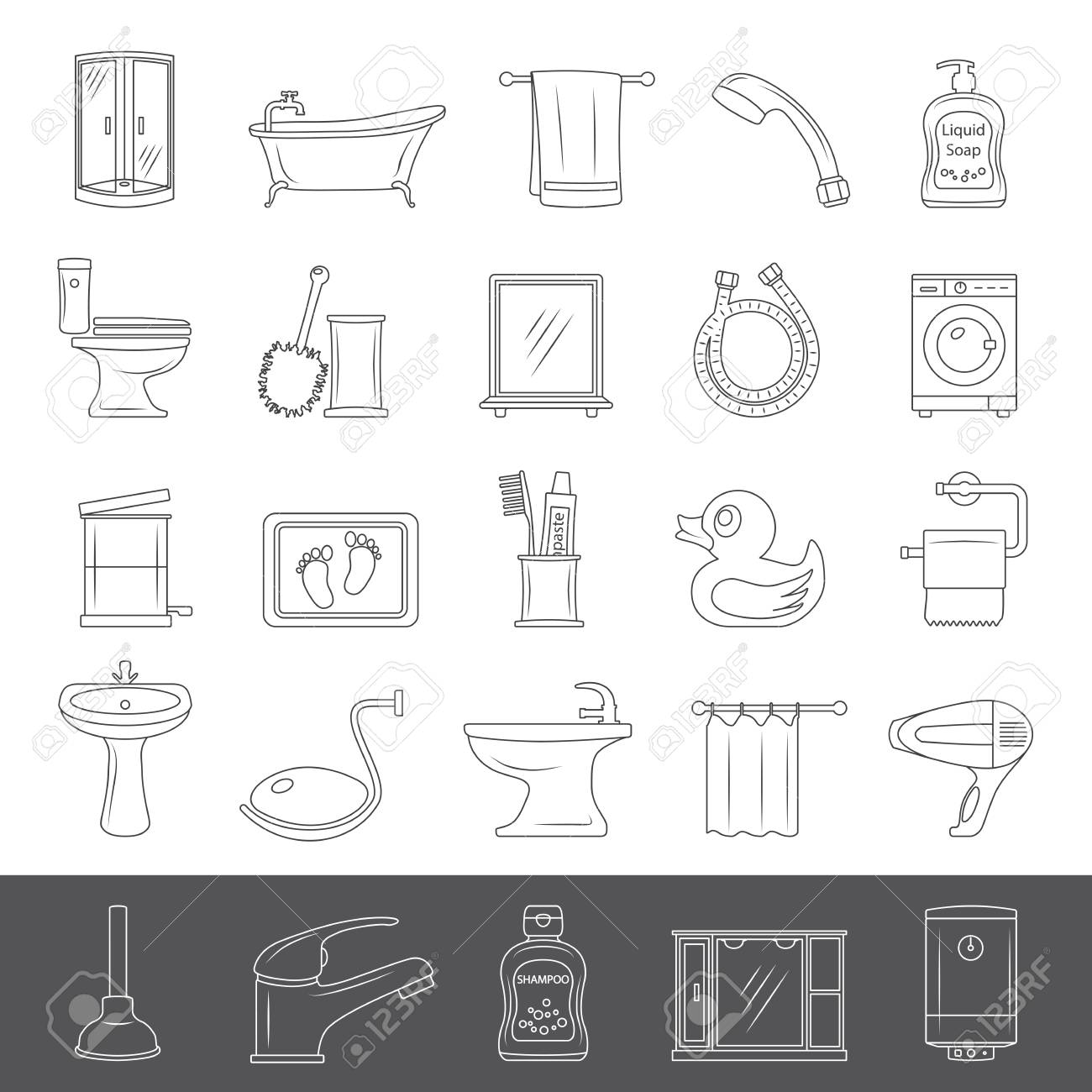 Set Of Bathroom Equipment And Accessories Royalty Free Cliparts ...
