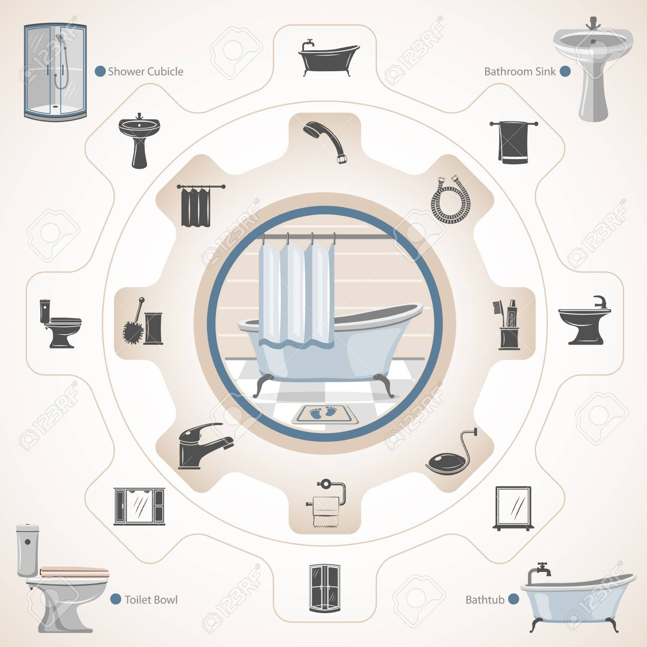Bathroom Equipment And Accessories Royalty Free Cliparts, Vectors ...