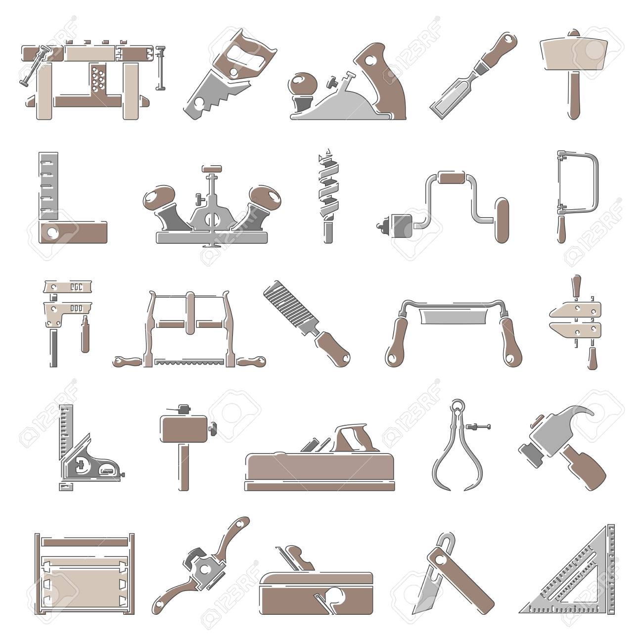 Outline Color Icons Traditional Woodworking Tools Royalty Free