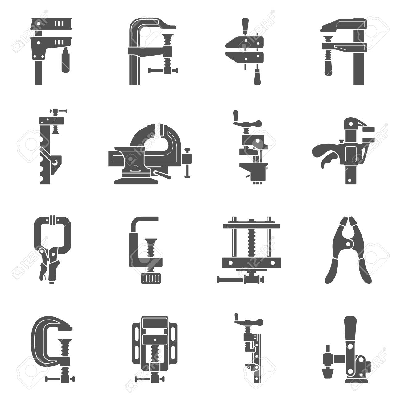 Types Of Clamps >> Black Icons Sixteen Different Types Of Clamps And Vises