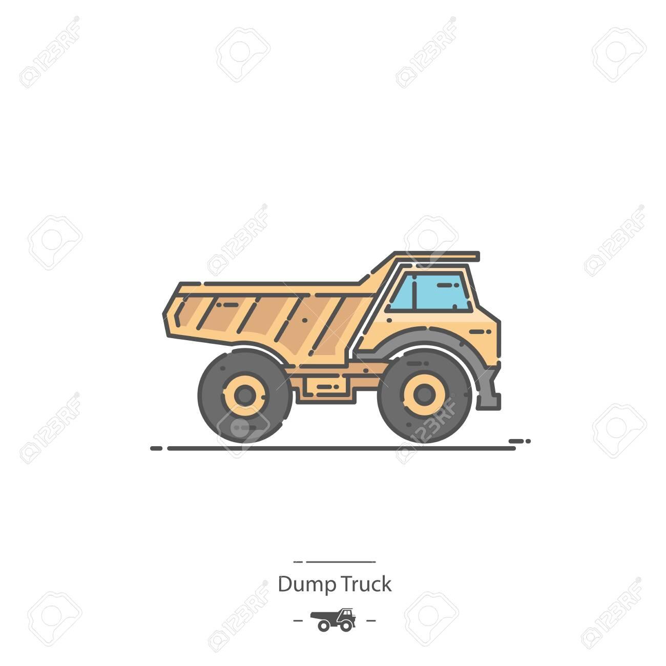 Dump Truck - Line color icon - 132234609