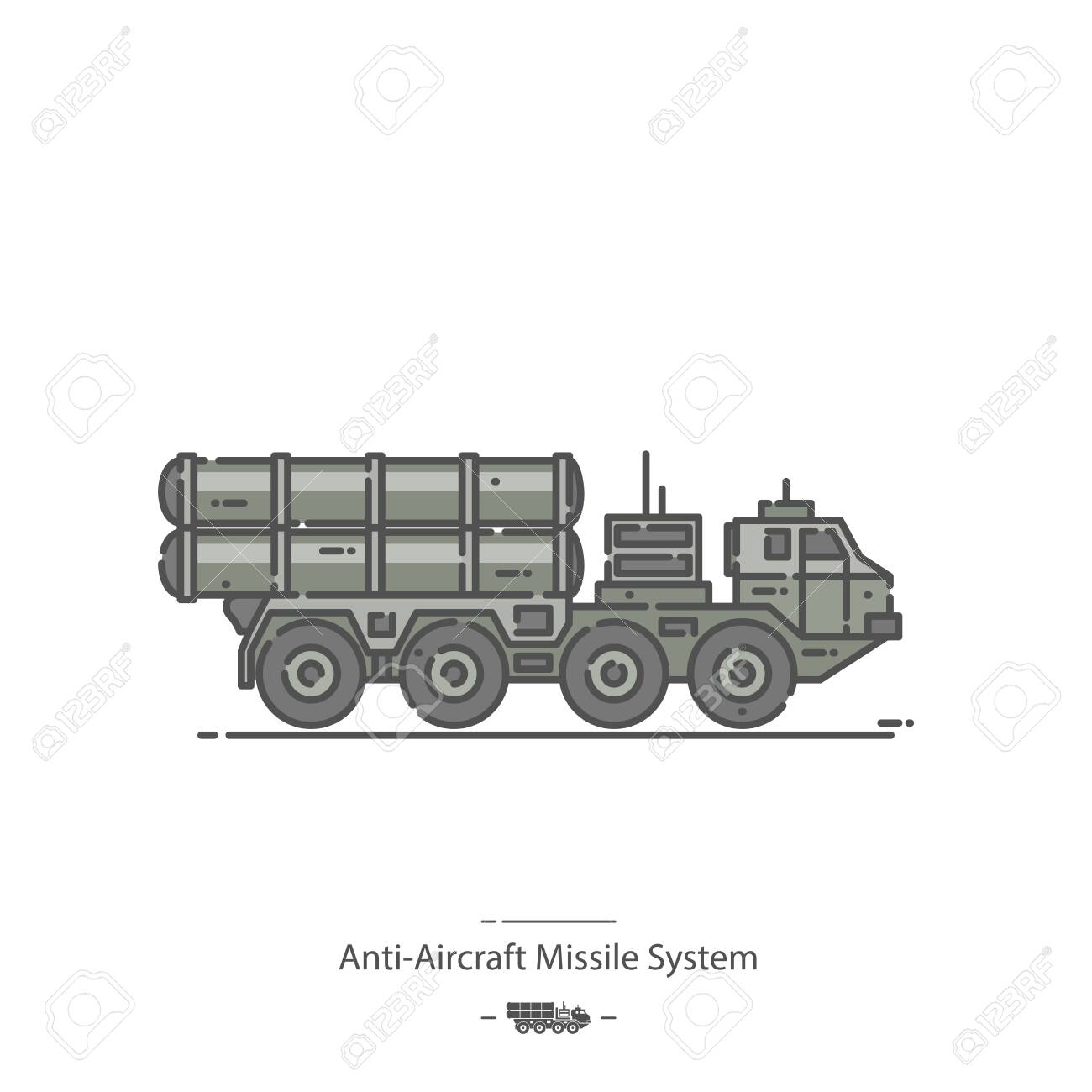 Anti-Aircraft Missile System - Line color icon - 138080430