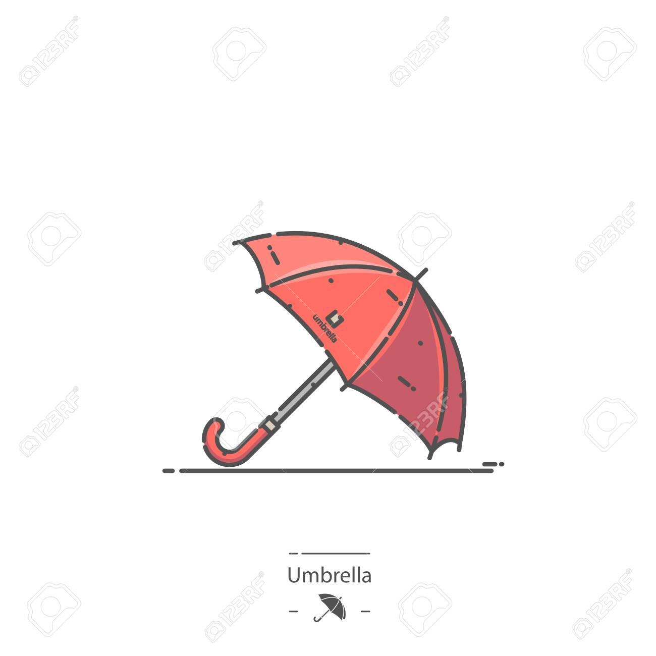 Red Umbrella - Line color icon - 138142226