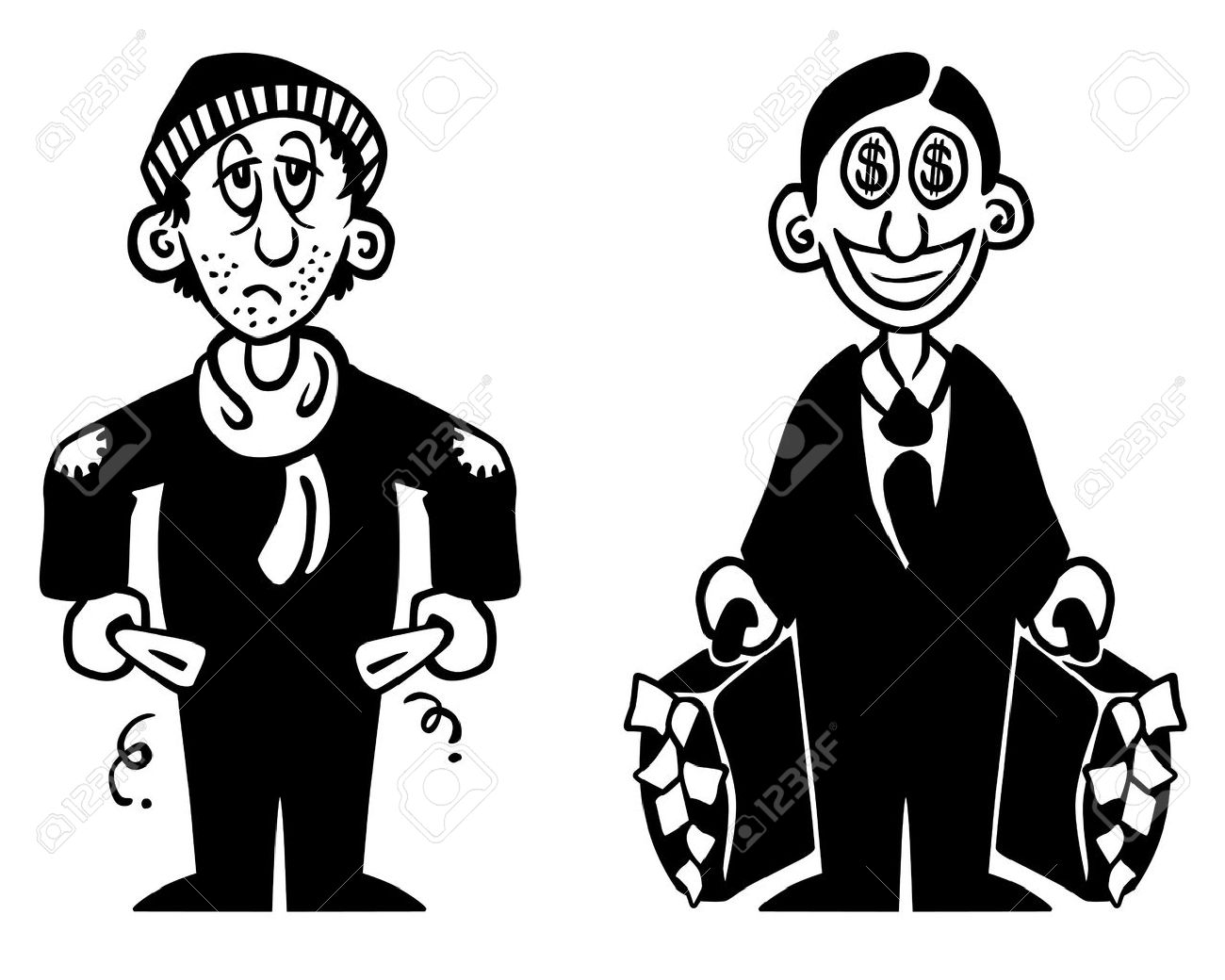 Black and white illustration of a poor and a rich man royalty free black and white illustration of a poor and a rich man stock vector 14631796 sciox Images
