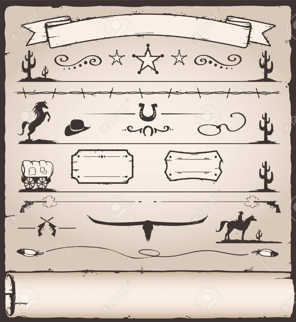 Collection of Wild West Design Elements Stock Vector - 14897668