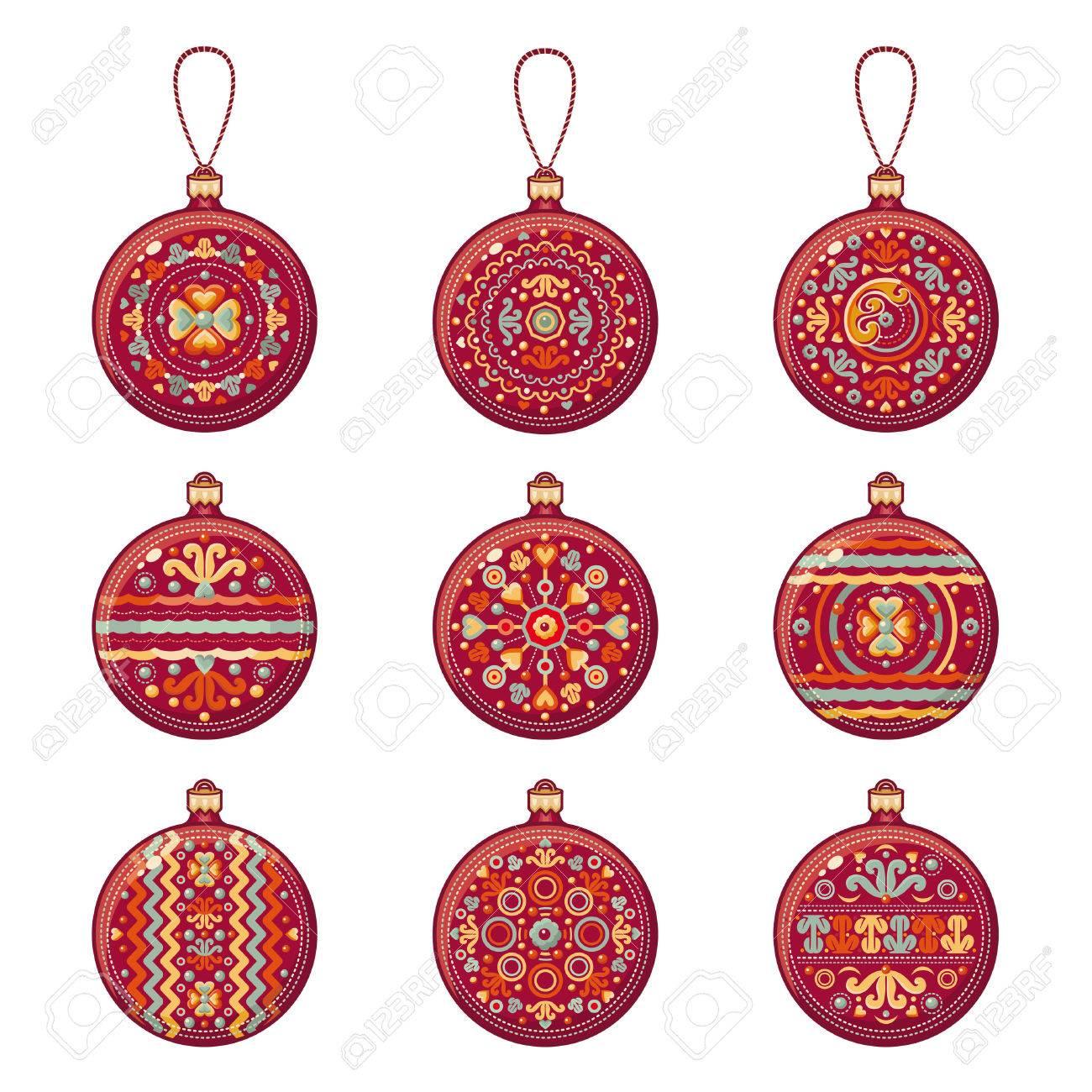 Bolas De Navidad. Rojo. Patrón De Turkmenistán. Conjunto De Color De ...