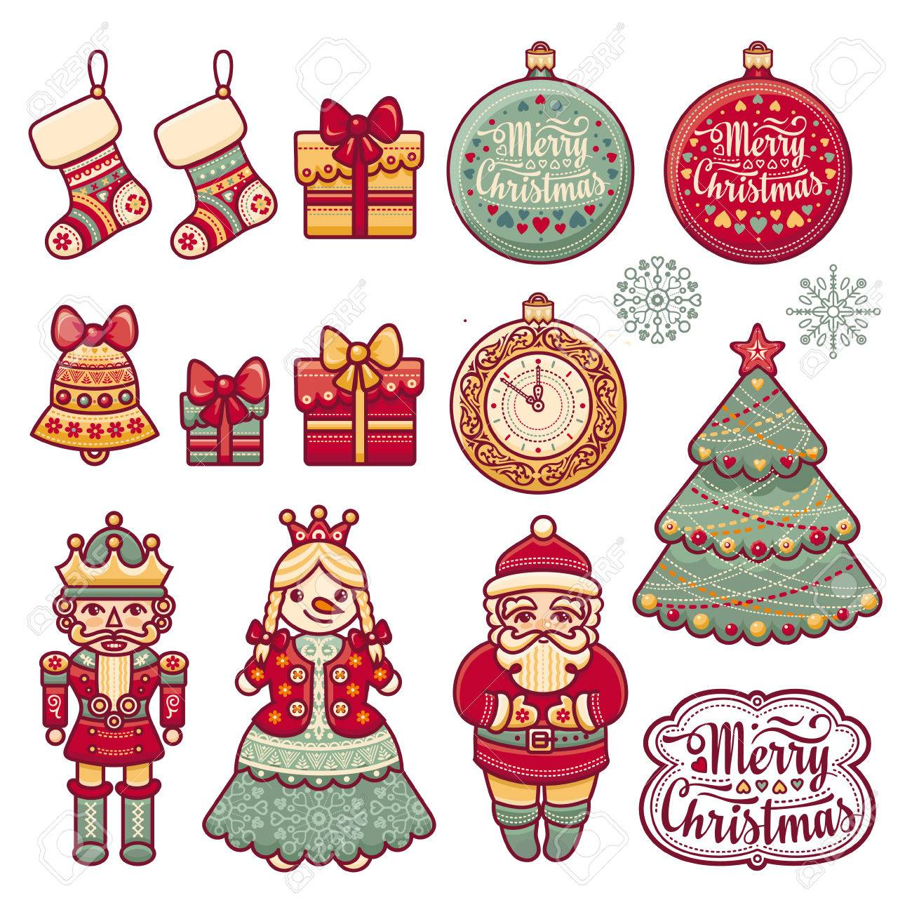 Nutcracker Christmas Tree Clipart.Set Of Color Christmas Icon New Year Cut The Paper Eps Pattern