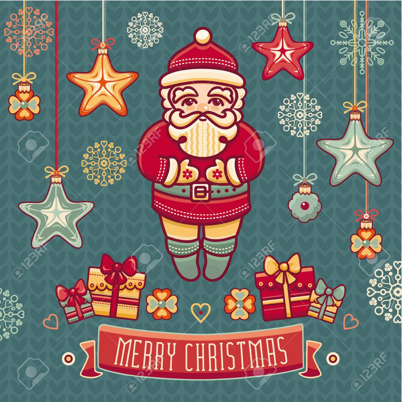 Santa Claus Greeting Cards Set Of Color Christmas Toys Holiday