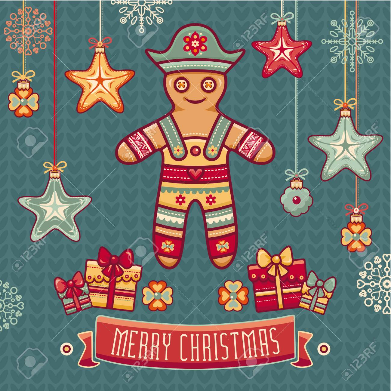 Gingerbread Man Greeting Cards Set Of Color Christmas Toys