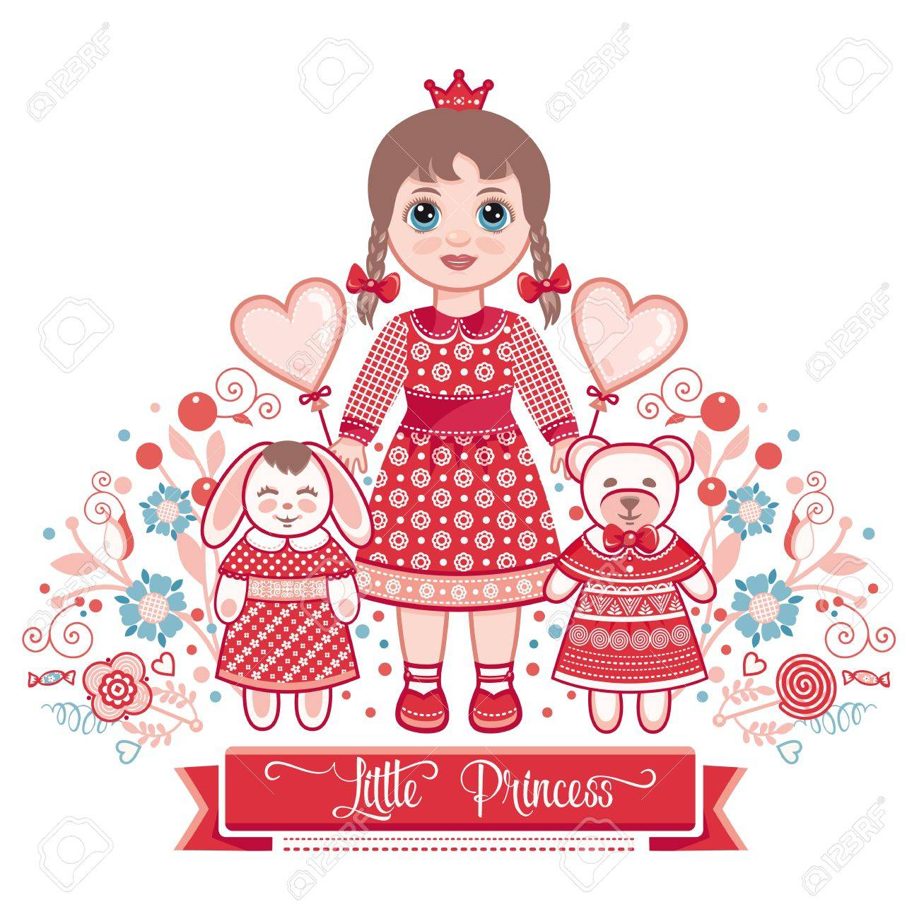 Happy birthday greetings card for girl illustration of cute happy birthday greetings card for girl illustration of cute little princess stock vector kristyandbryce Image collections