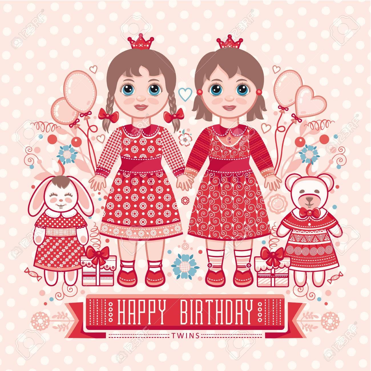 お誕生日おめでとう - 女の子のためのグリーティング カード。かわいい