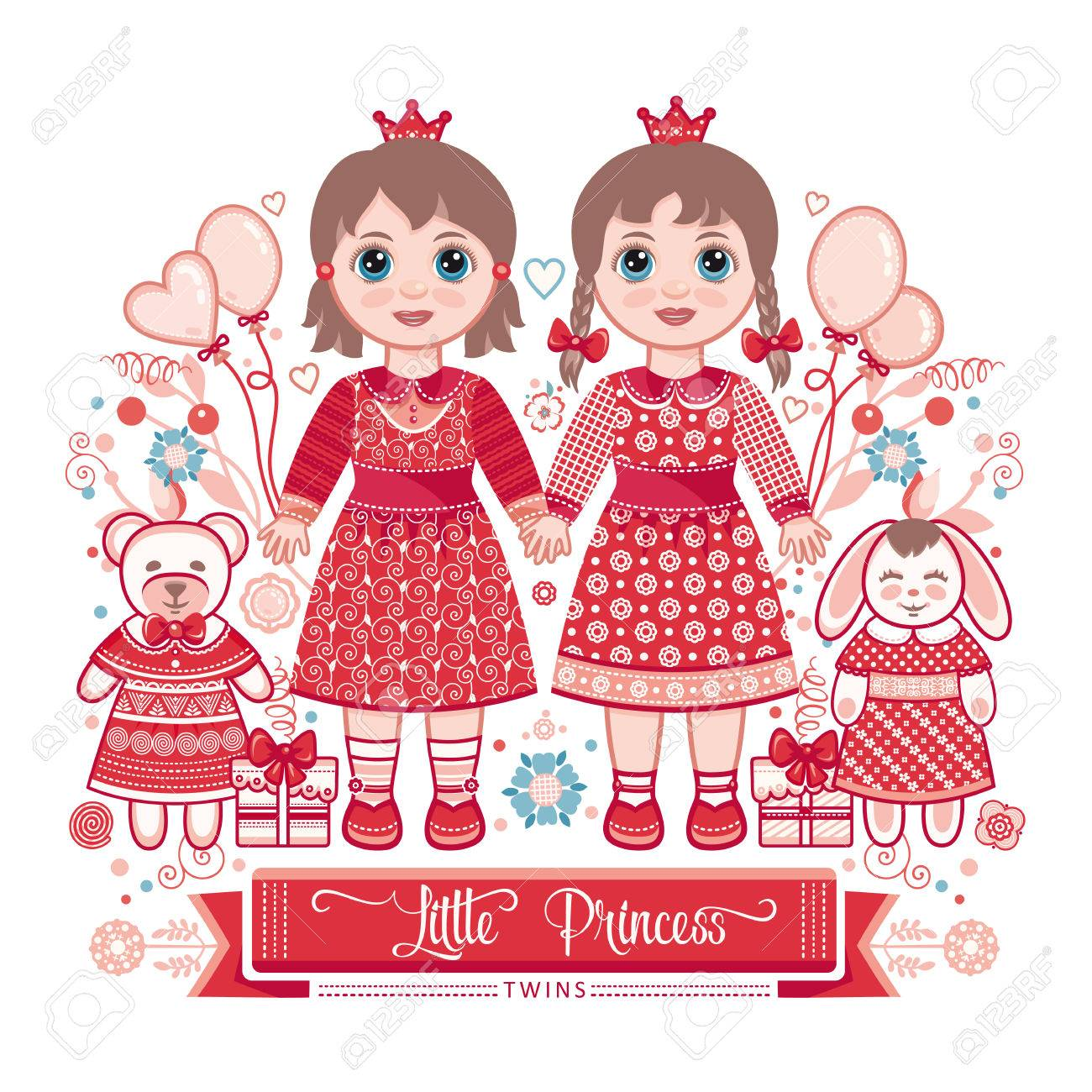 Happy birthday greetings card for girl illustration of cute happy birthday greetings card for girl illustration of cute little princess twins stock kristyandbryce Gallery