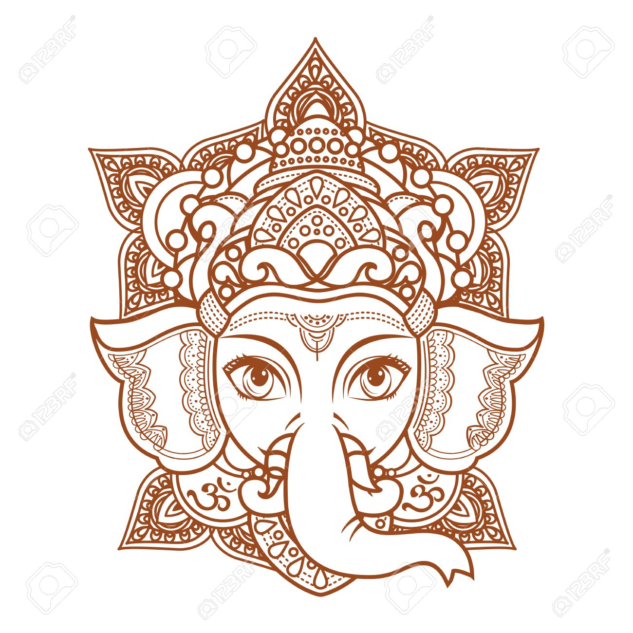 Hindu Elephant Head God Lord Ganesh Hinduism Paisley Background