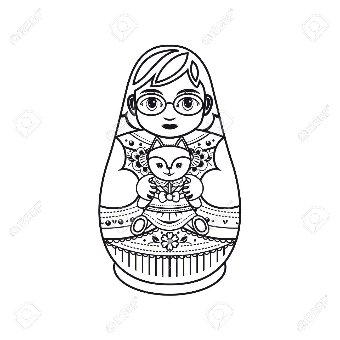 Matryoshka. Russian Folk Nesting Doll. Babushka Doll. Template ...