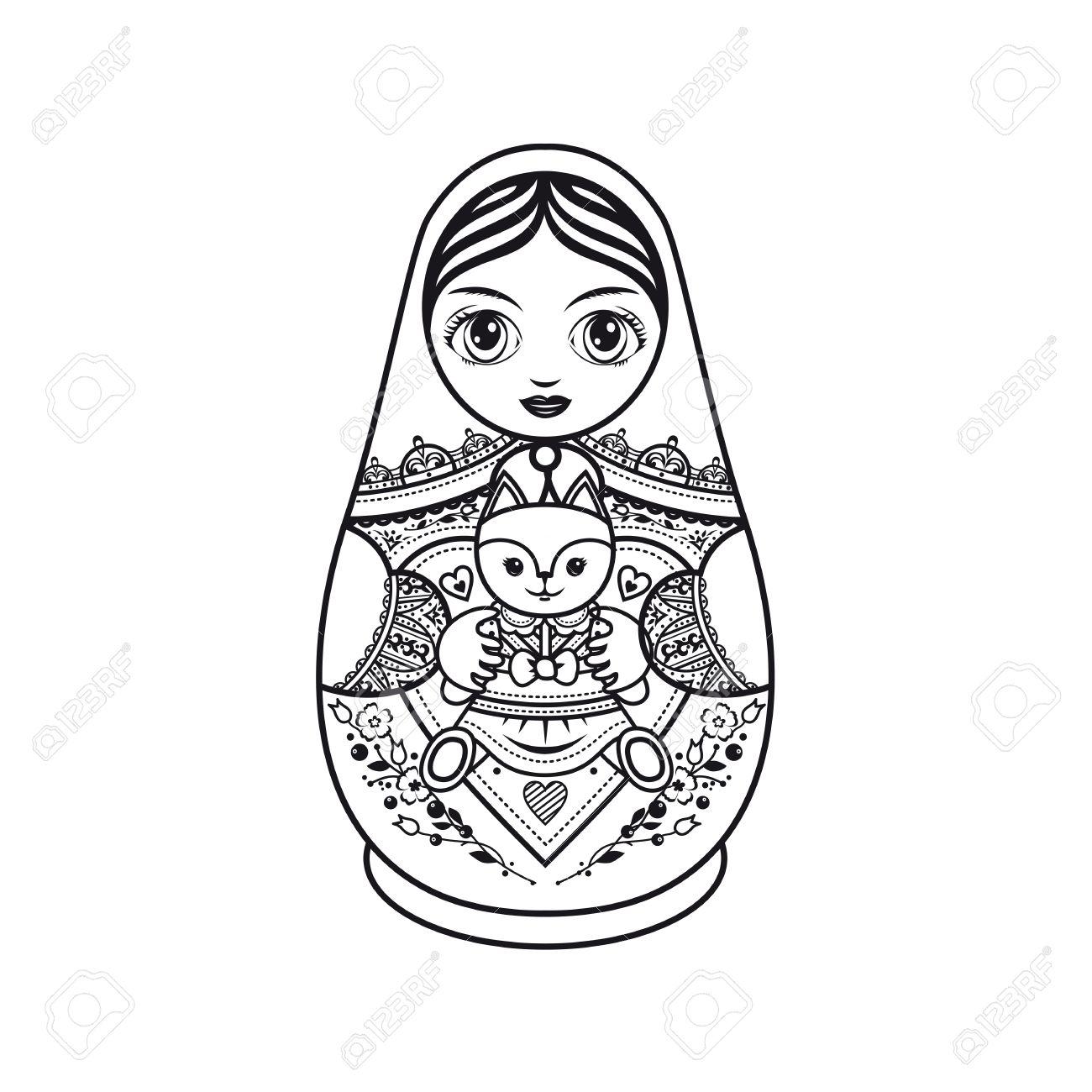 Matryoshka Russian Folk Nesting Doll Babushka Template For Coloring Book Monochrome