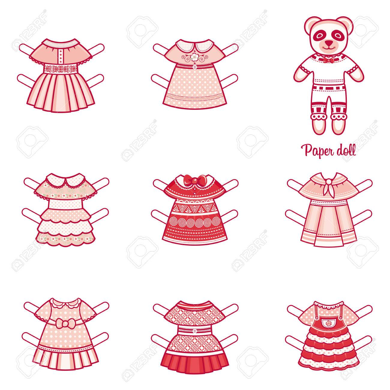 Paper Doll With A Set Of Fashion Clothes. Panda. Template For ...