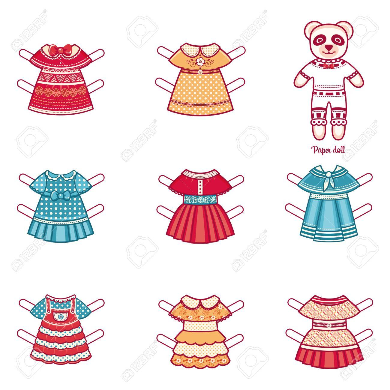 paper doll with a set of fashion clothes panda template for