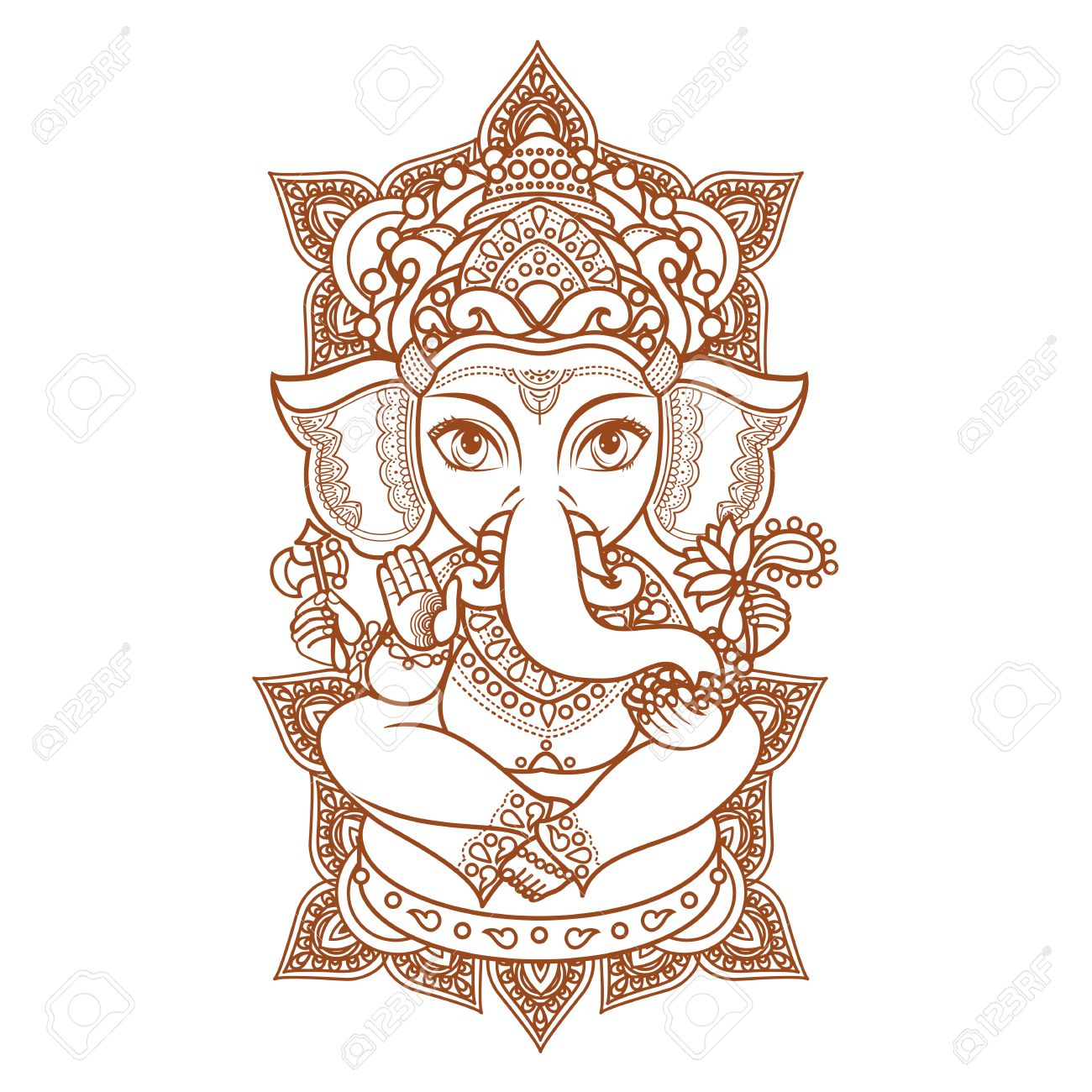 Hindu Elephant God Lord Ganesh Hinduism Paisley Background