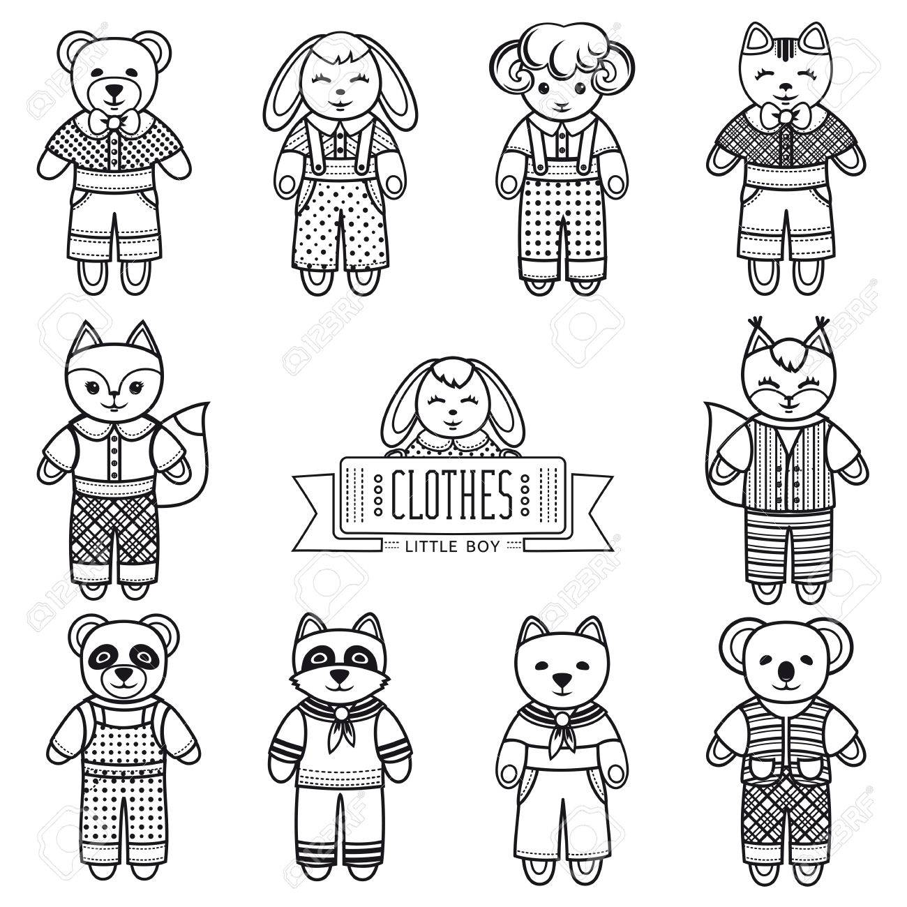 Coloring Book Animals Monochrome Set Cute Girl Icons