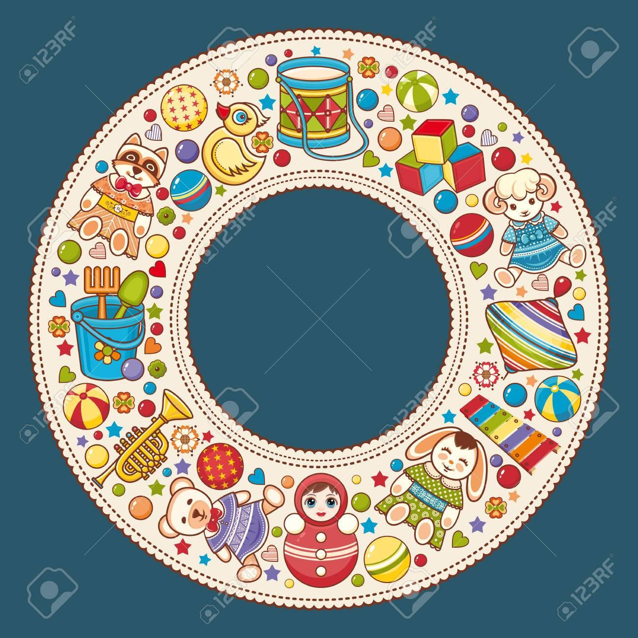 Colorata Cornice Rotonda Per Bambini Priorità Bassa Del Bambino