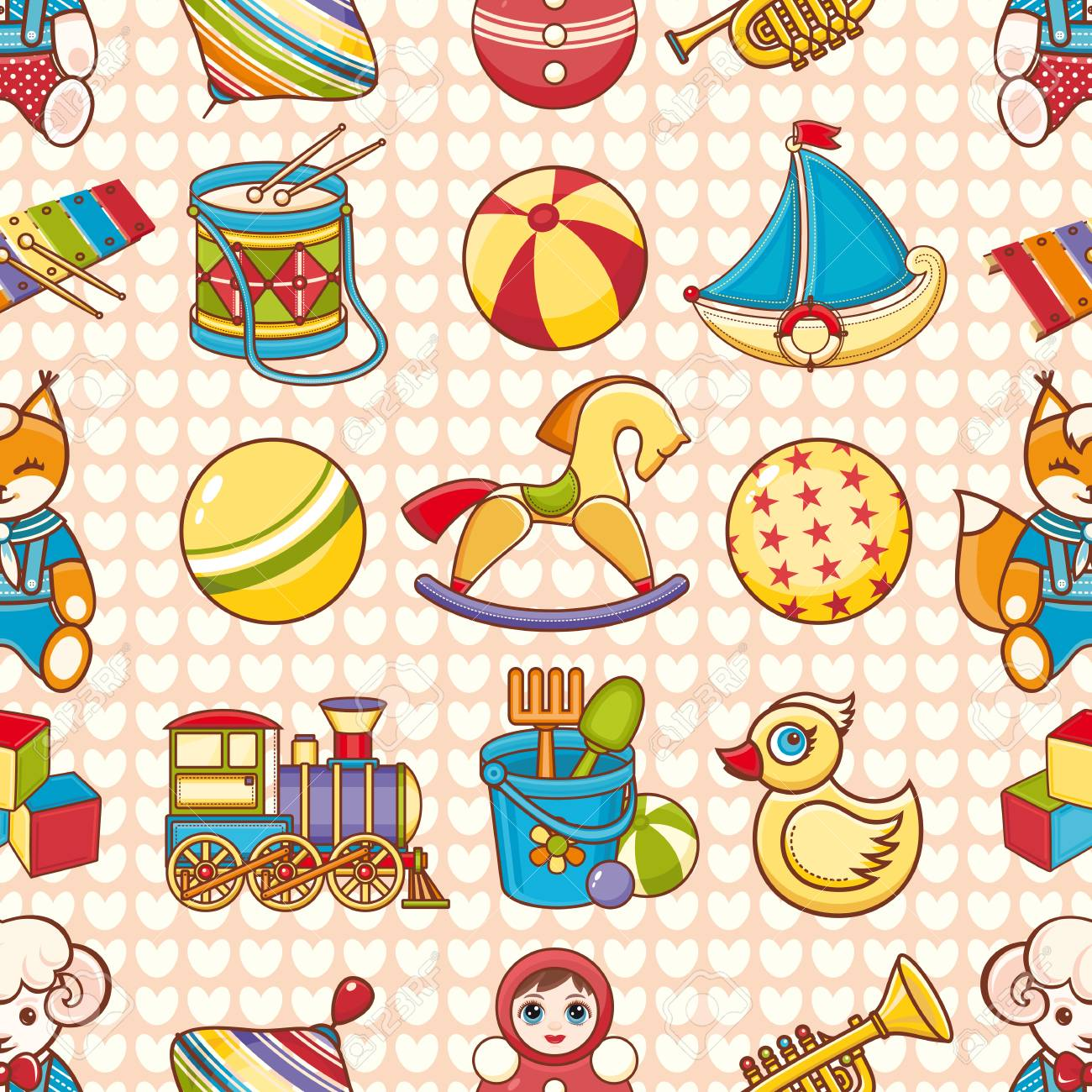 Toy Kid S Seamless Pattern Baby Background Toddler Toys Royalty