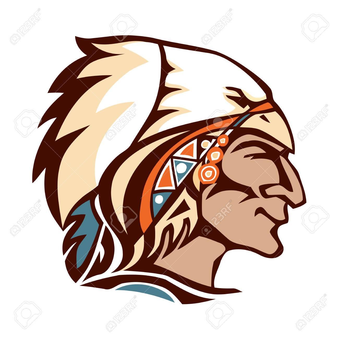La Cabeza Del Jefe Indio Americano. Tocado De Plumas De águila Indio ...