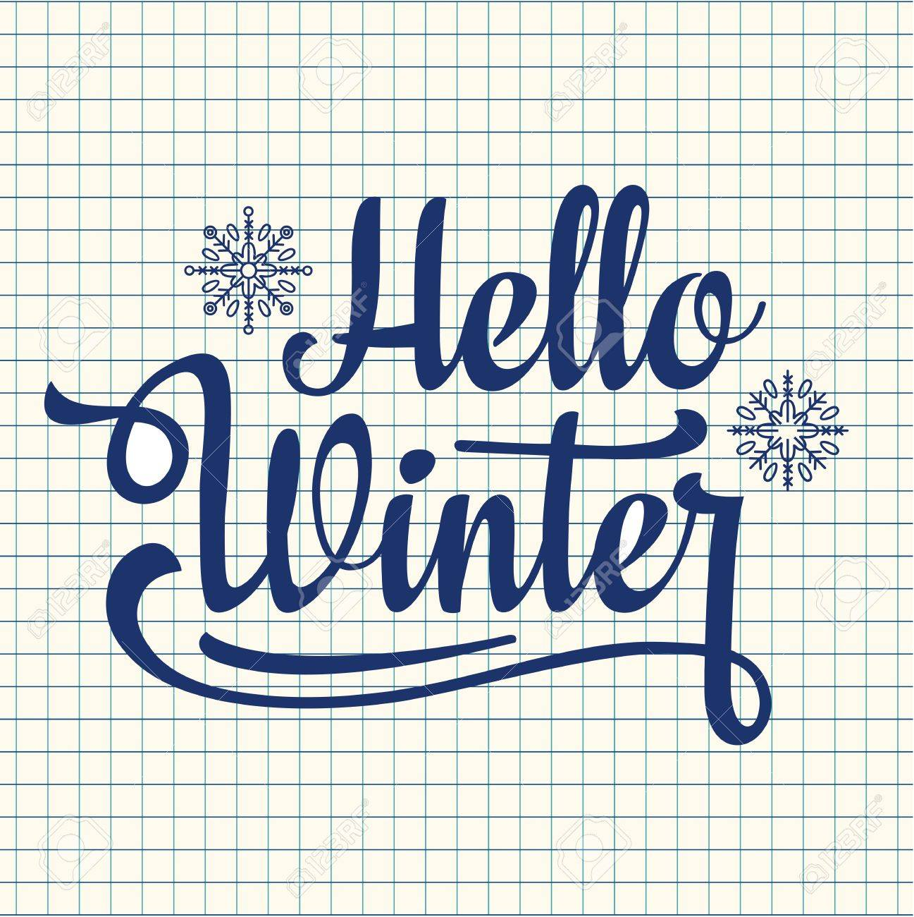 Hello Winter Text. Holiday Background. Text Retail Message. Best For Sale  Banner.