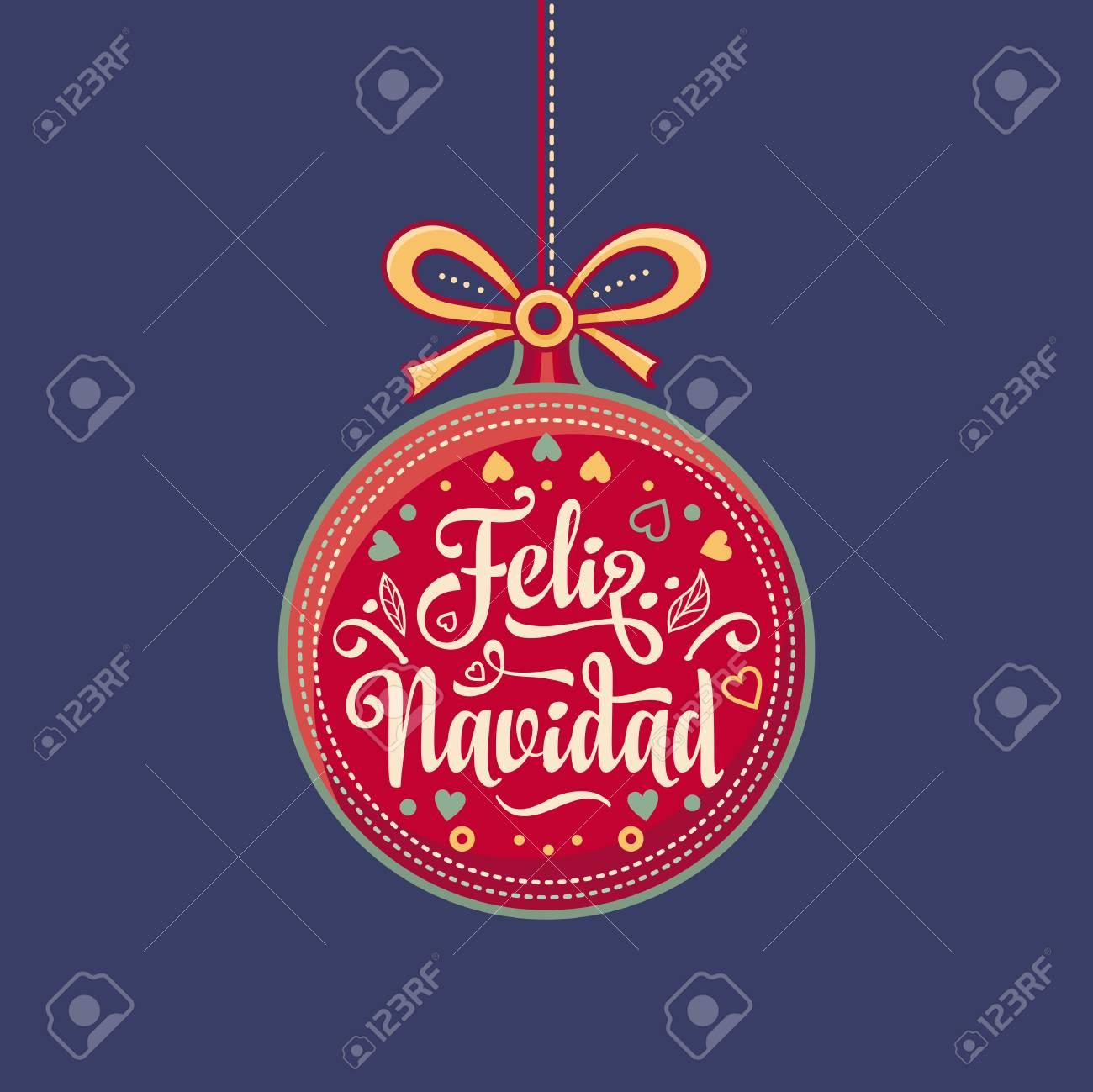 Feliz Navidad - Christmas Card On Spanish Language. Royalty Free ...