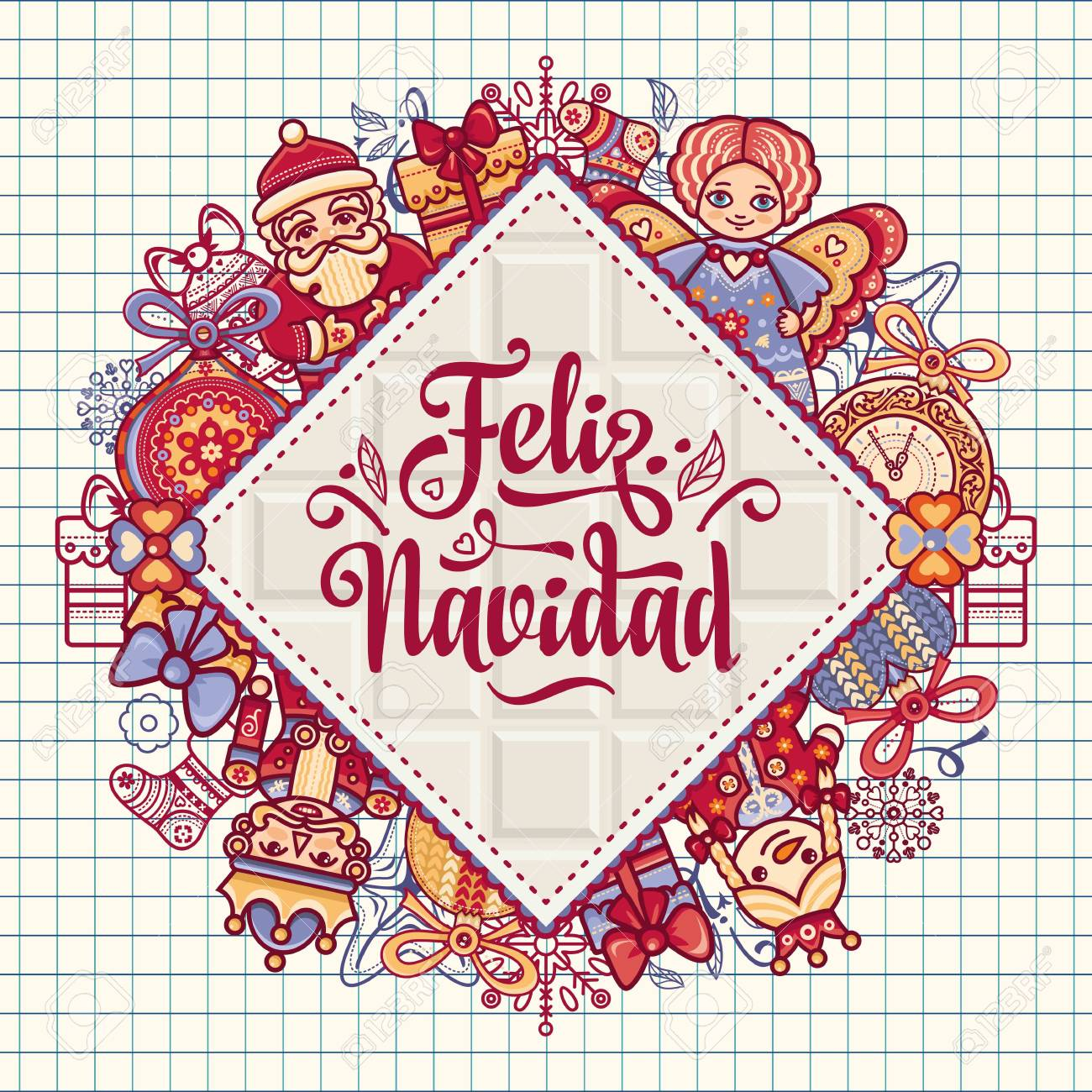 Christmas decorations for invitations and greeting cards in spanish christmas decorations for invitations and greeting cards in spanish stock vector 73021192 m4hsunfo