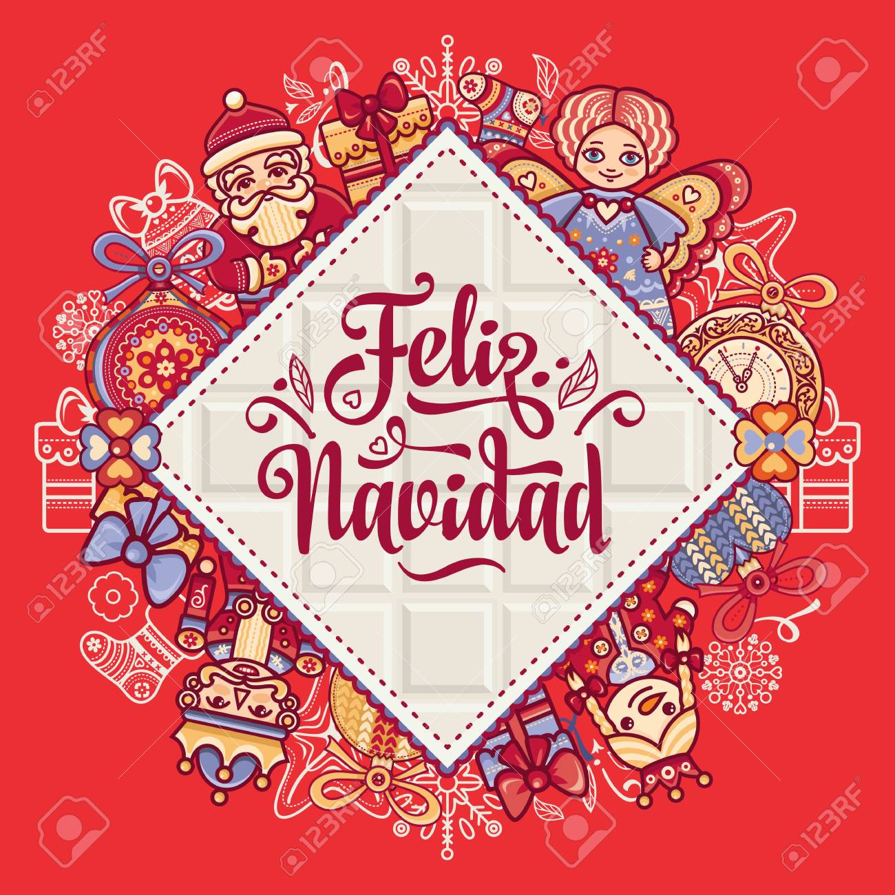 christmas decorations for invitations and greeting cards in spanish stock vector 73021195