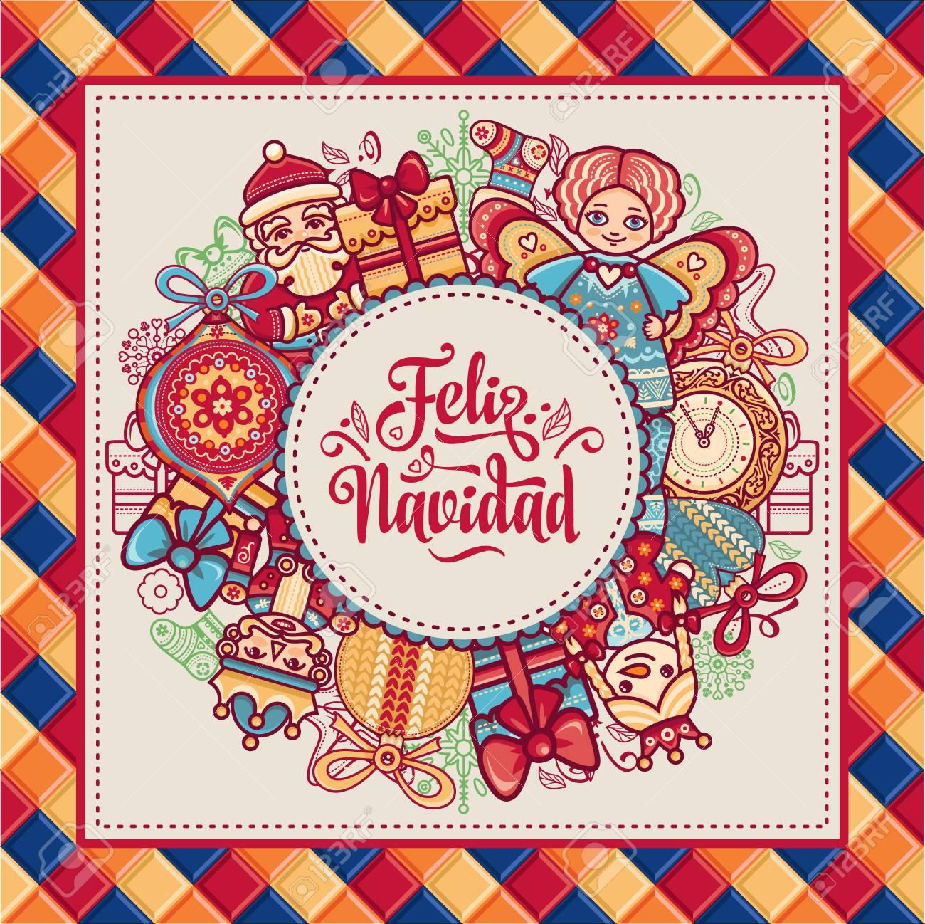Christmas Wreath. Winter Toys - Santa Claus, Nutcracker, Reindeer ...