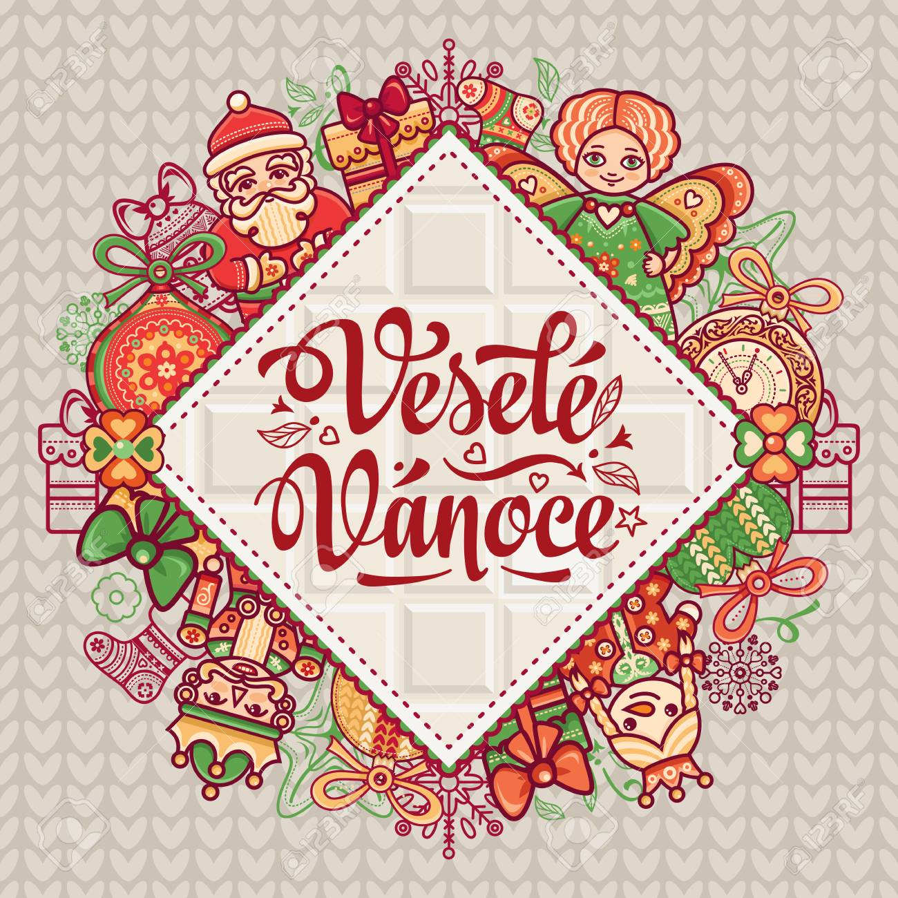 Vesele Vanoce. Christmas Message. Lettering Composition With ...