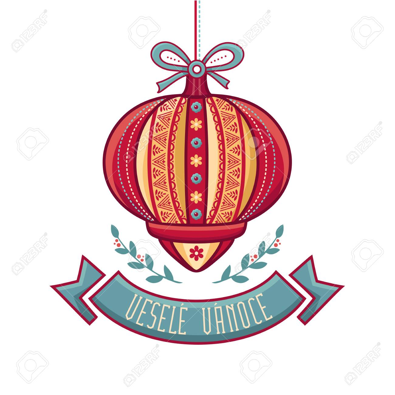 Vesele Vanoce Christmas Message Lettering Composition With