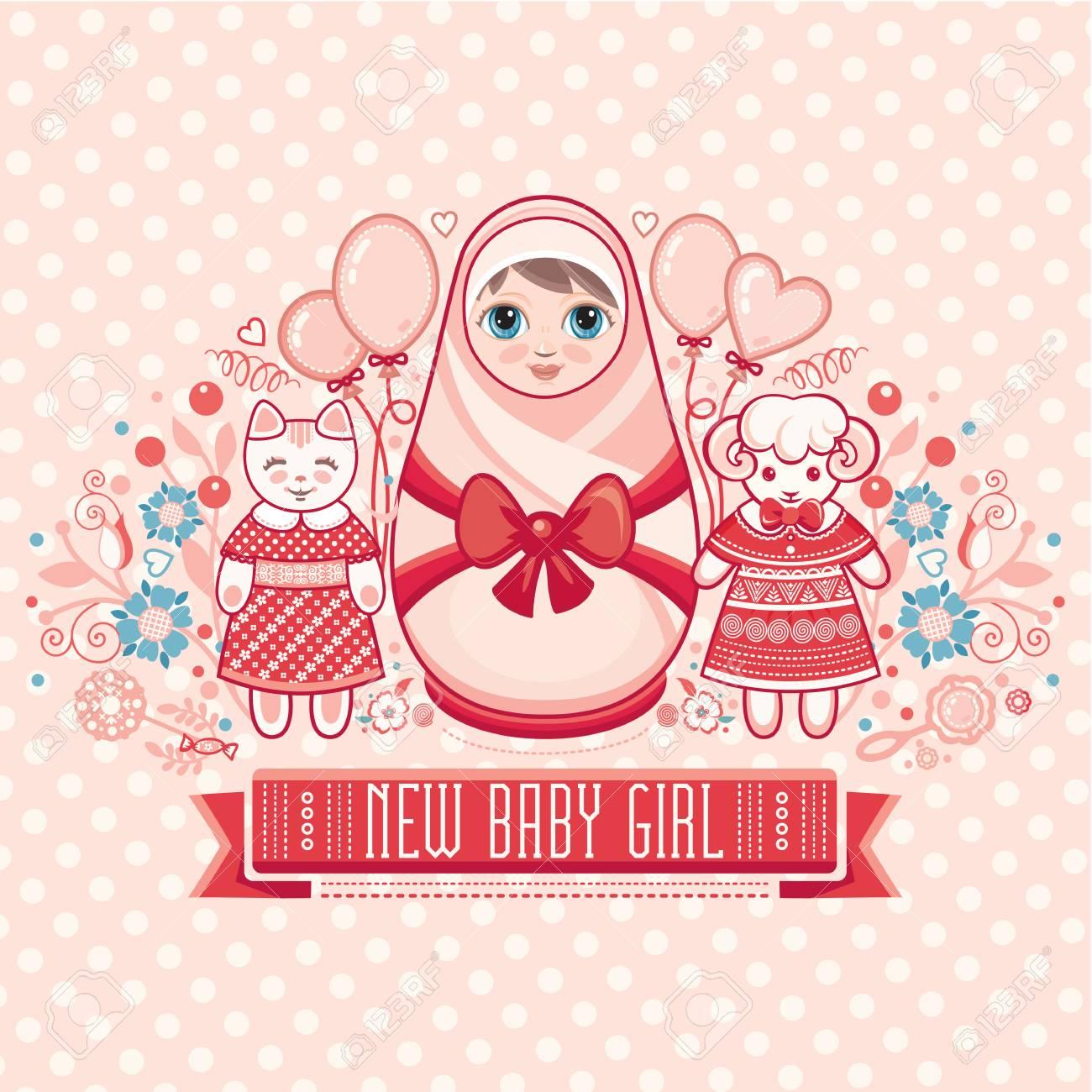 Newborn Little Baby Matryoshka Greeting Card Best For Birthday