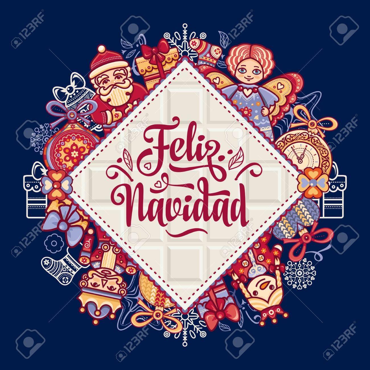 Decoraciones De Navidad Para Las Invitaciones Y Tarjetas De Felicitación Invierno Juguete Feliz Navidad Tarjeta De Navidad De La Lengua Española