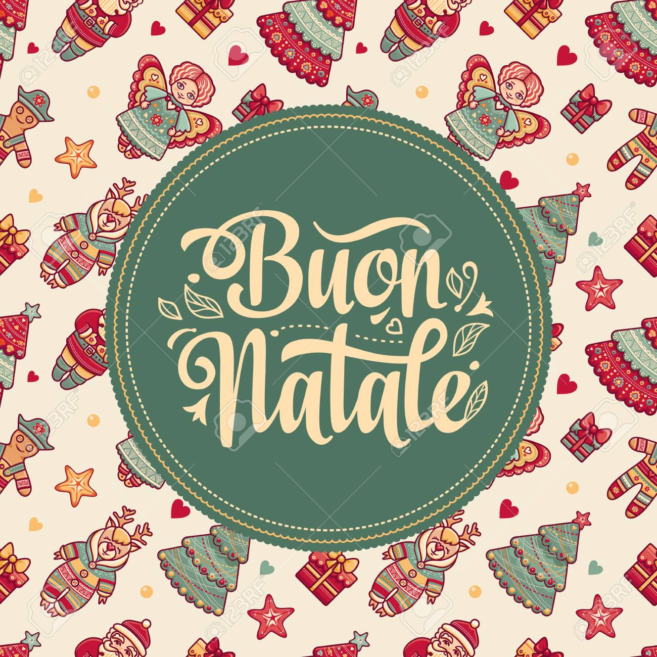 Buon Natale Christmas Template Greeting Card Winter Holiday