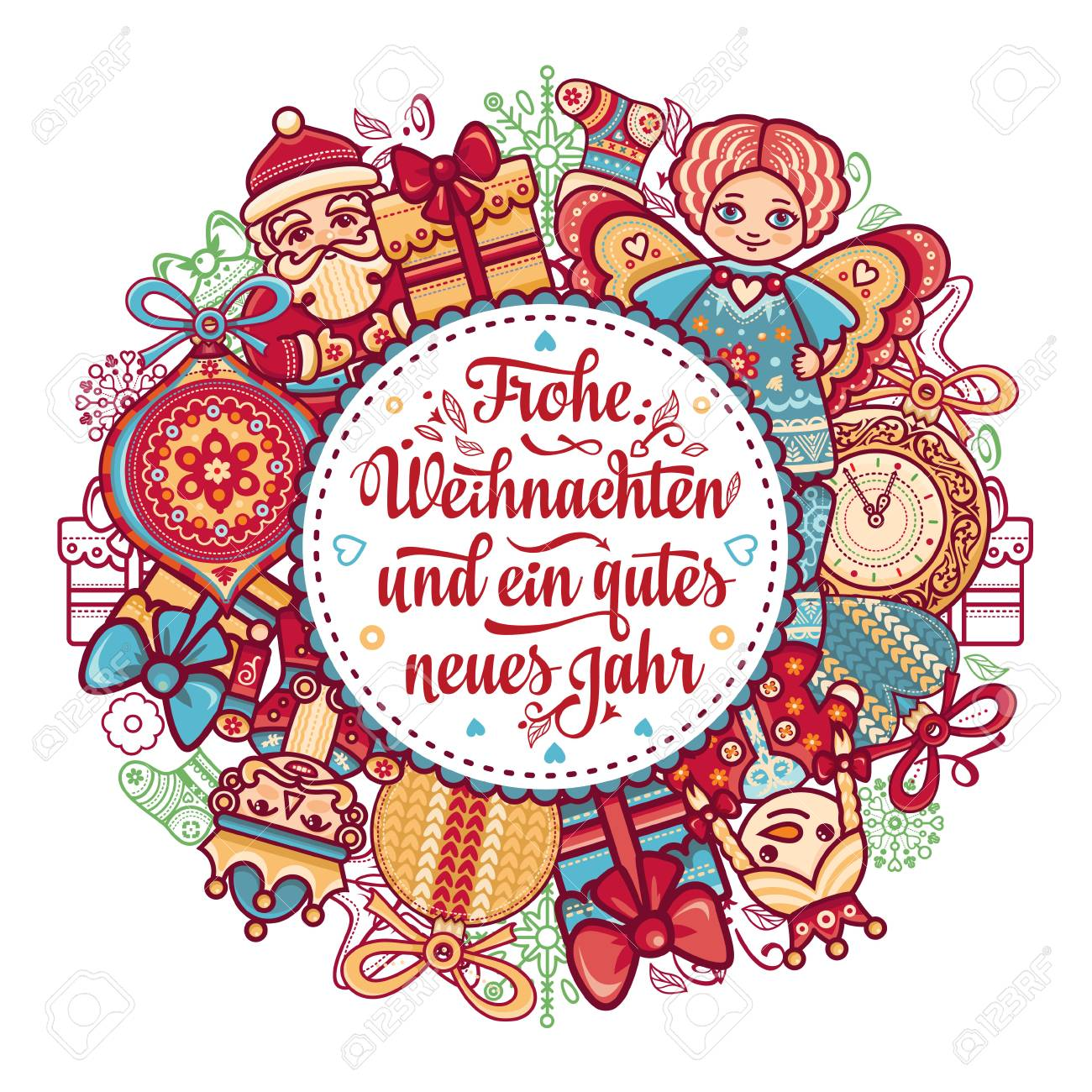 Frohe Weihnacht. Xmas Congratulations In German Language. Christmas ...